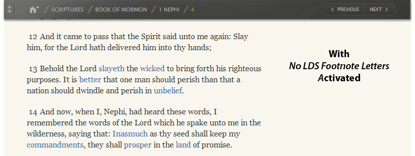 How To Remove the Annoying Footnote Letters From the LDS.org Scriptures