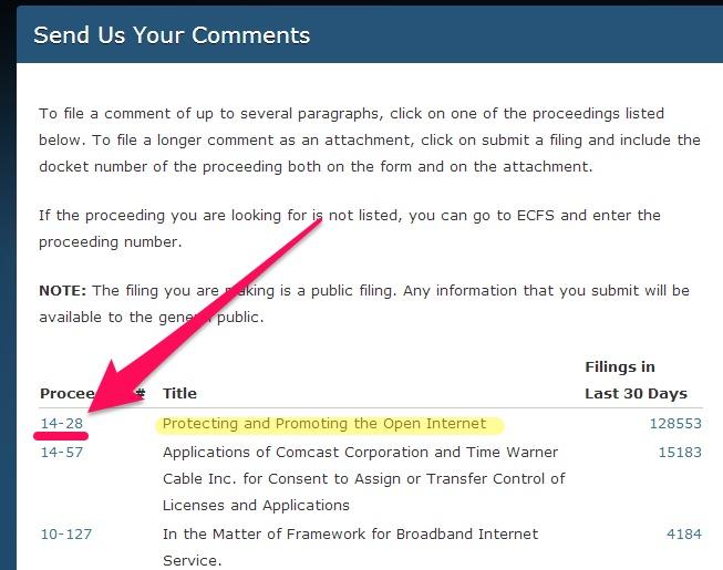 FCC website Net Neutrality comment link
