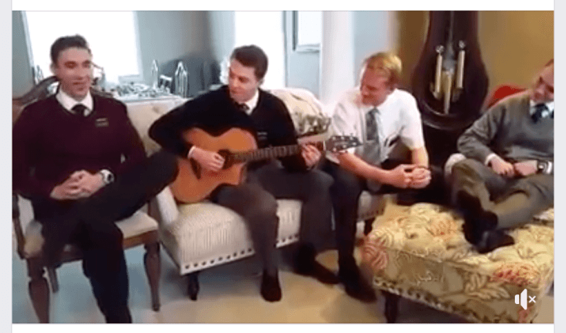 Four talented Elders singing to a song