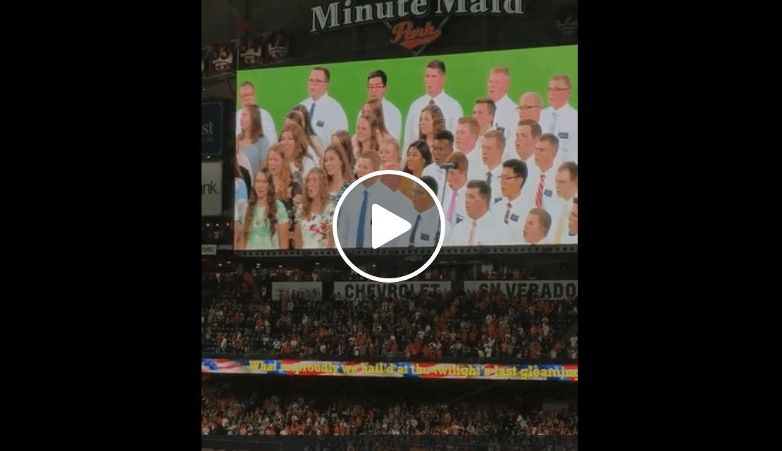 Missionaries from the The Church of Jesus Christ of Latter-day Saints of the Texas Houston South mission sing the United States national anthem at a Houston Astros game of the MLB. ⚾