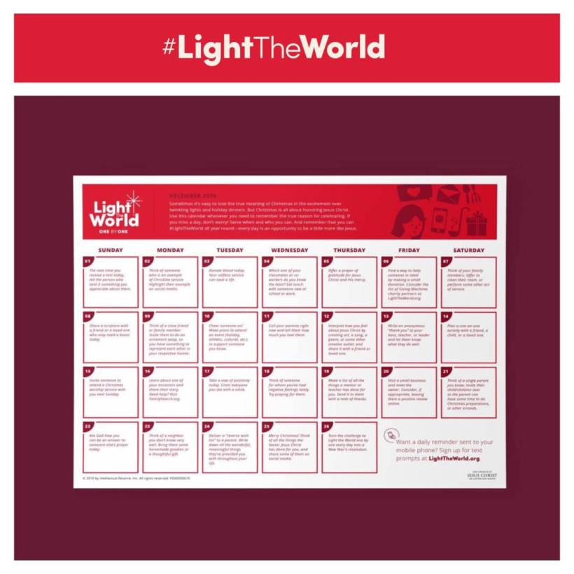 #LightTheWorld: Share a scripture with a friend or a loved one who may need a boost today