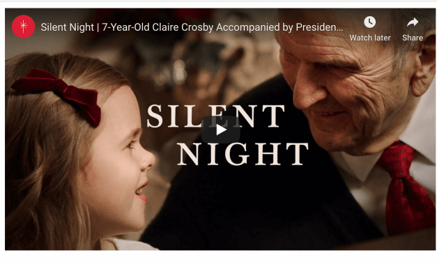 "President Russell M. Nelson sings ""Silent Night"" with 7-Year-Old Latter-day Saint musical phenom Claire Crosby to help #LightTheWorld"