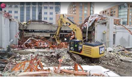 """VIDEO: """"And the walls come tumbling down:"""" The Temple Square South Visitors' Center and portions of the square's south wall being demolished"""