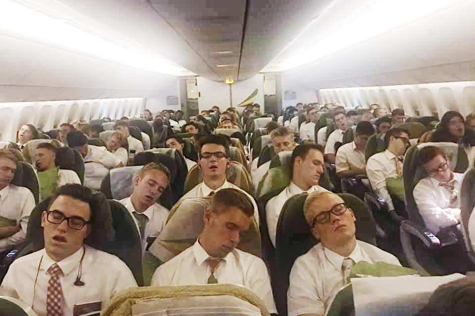 VIDEO: These images of missionaries returning on a plane will give you the chills!