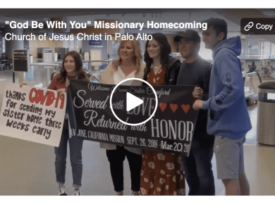 "Elder Jacob Richards performs a beautiful rendition of ""God Be With You Till We Meet Again,"" accompanied by homecoming footage from the California, San Jose missionaries."