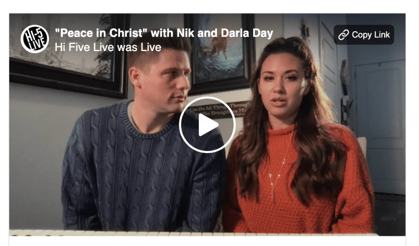 "Hi Five Live was live. about an hour ago · Follow ""Peace in Christ"" with Niklaus Day and Darla Day."