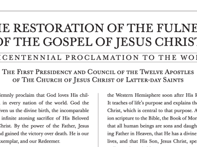The Restoration of the Fulness of the Gospel of Jesus Christ