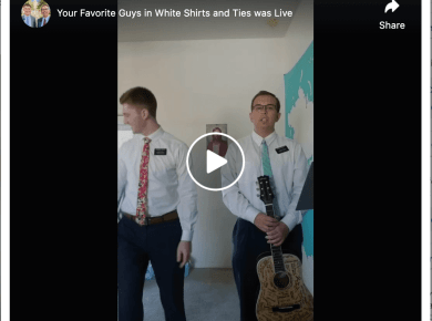 VIDEO: Your Favorite Guys in White Shirts and Ties (Missionaries) singing ? LIVE!