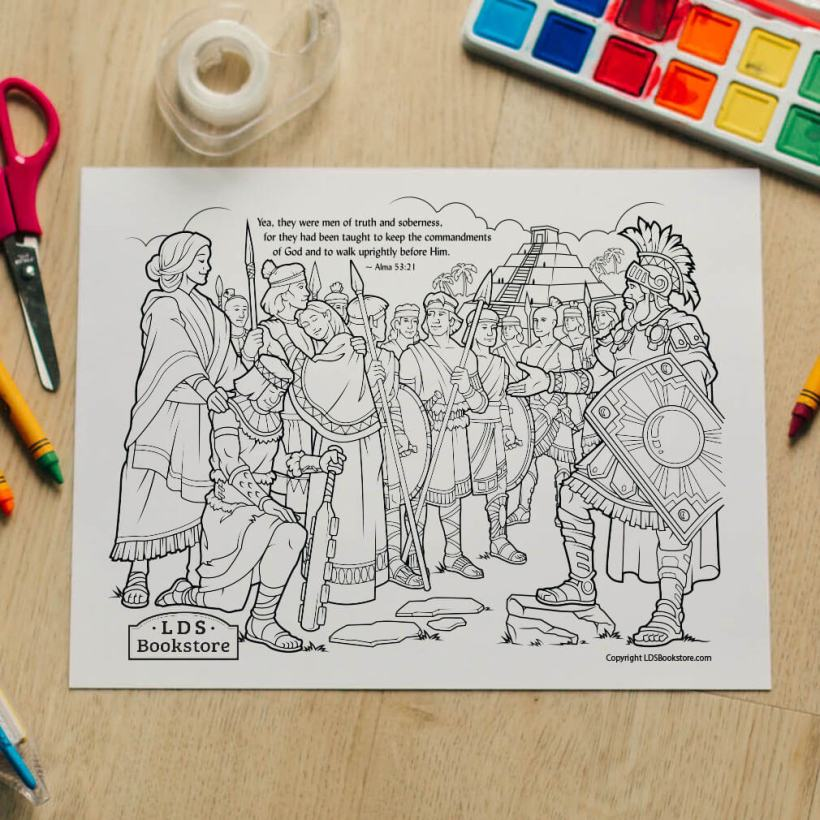 Stripling Warriors Coloring Page - Free Come Follow Me Printable Download