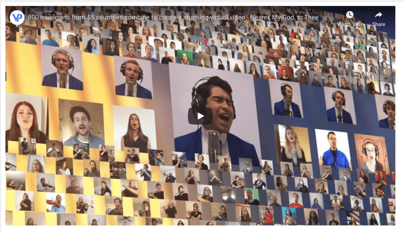 VIDEO: 800 musicians from 55 countries combine to create a stunning virtual video - Nearer, My God, to Thee (BYU Vocal Point)