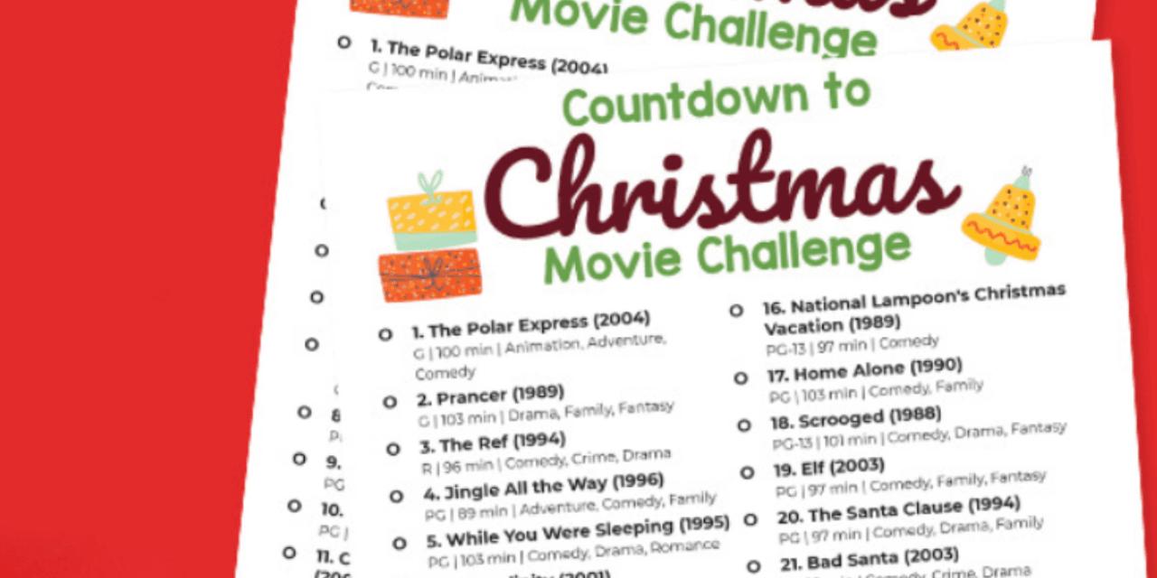 FREE: Countdown to Christmas Movie Challenge Printable