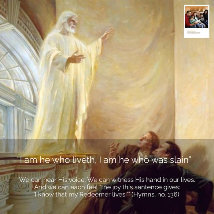"""**#ComeFollowMe nugget** 𝙴𝚊𝚜𝚝𝚎𝚛 𝚂𝚞𝚗𝚍𝚊𝚢 April 3, 1836, was Easter Sunday. After helping administer the sacrament to Saints gathered in the newly dedicated Kirtland Temple, Joseph Smith and Oliver Cowdery found a quiet place behind a veil in the temple and bowed in silent prayer. Then, on this sacred day when Christians everywhere were commemorating the Resurrection of Jesus Christ, the risen Savior Himself appeared in His temple, declaring, """"I am he who liveth, I am he who was slain"""" (Doctrine and Covenants 110:4). What does it mean to say that Jesus Christ is """"he who liveth""""? It doesn't just mean that He rose from the tomb on the third day and appeared to His Galilean disciples. It means that He lives today. He speaks through prophets today. He leads His Church today. He heals wounded souls and broken hearts today. So we can echo the words of Joseph Smith's powerful testimony: """"After the many testimonies which have been given of him, this is the testimony … which we give of him: That he lives!"""" (Doctrine and Covenants 76:22). We can hear His voice in these revelations. We can witness His hand in our lives. And we can each feel """"the joy this sentence gives: 'I know that my Redeemer lives!'"""" (Hymns, no. 136). Join our Come, Follow Me Facebook group! https://www.facebook.com/.. More at http://www.ComeFollowMeStudyHelps.com 🎨 🖼: Jesus Christ Appears to the Prophet Joseph Smith and Oliver Cowdery, by Walter Rane"""