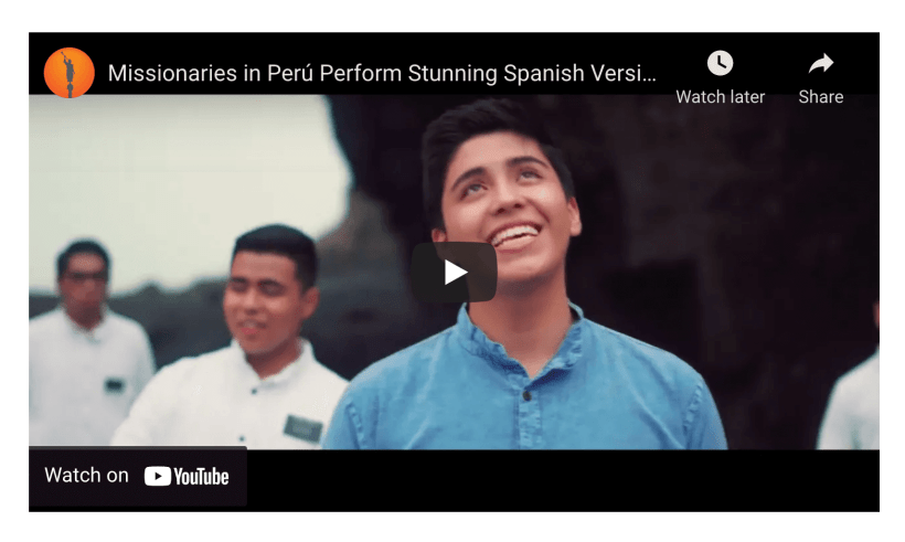 """Missionaries in Perú Perform Stunning Spanish Version of """"What a Beautiful Name""""   Hermoso Nombre"""