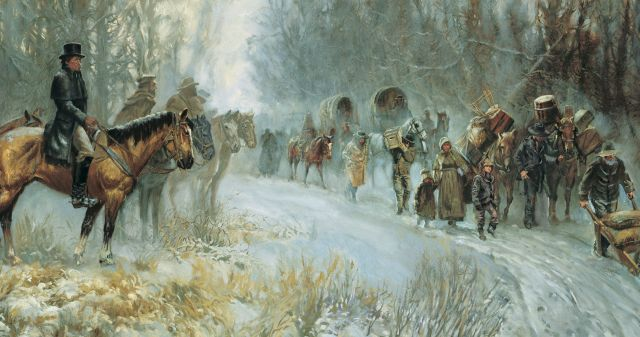"""Come, Follow Me Doctrine and Covenants Lesson 38: September 13–19 """"After Much Tribulation … Cometh the Blessing"""" Doctrine and Covenants 102–105 Art illustration pioneers snow young"""