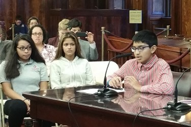 Neil Sarkar and Katerina Corr, eighth-graders at East Side Middle School in Manhattan, discuss the value of GSAs at a City Council hearing.