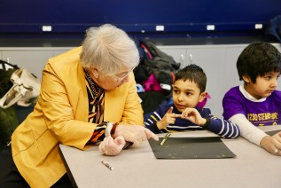 Chancellor Fariña Hears What First-Graders Have to Say About the NYC Space Center