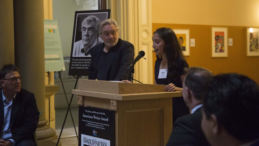 Robert De Niro Looks On as Nuha Dolby Reads Excerpt from Her Award-Winning Non-Fiction Story