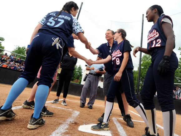 Brooklyn Tech and John Bowne H.S. Softball Captains Shake Hands Before the 2017–18 PSAL A Division Championship