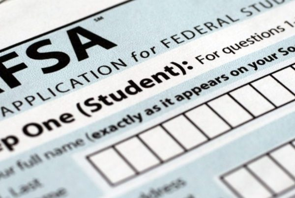 Close-up of the physical FAFSA application.