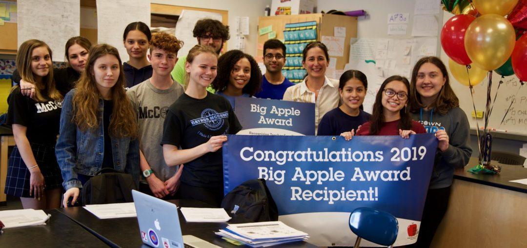 Big Apple Award winner, Paraskevi Langis, poses with her class