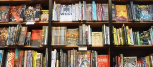 Bookshelves filled with graphic novels