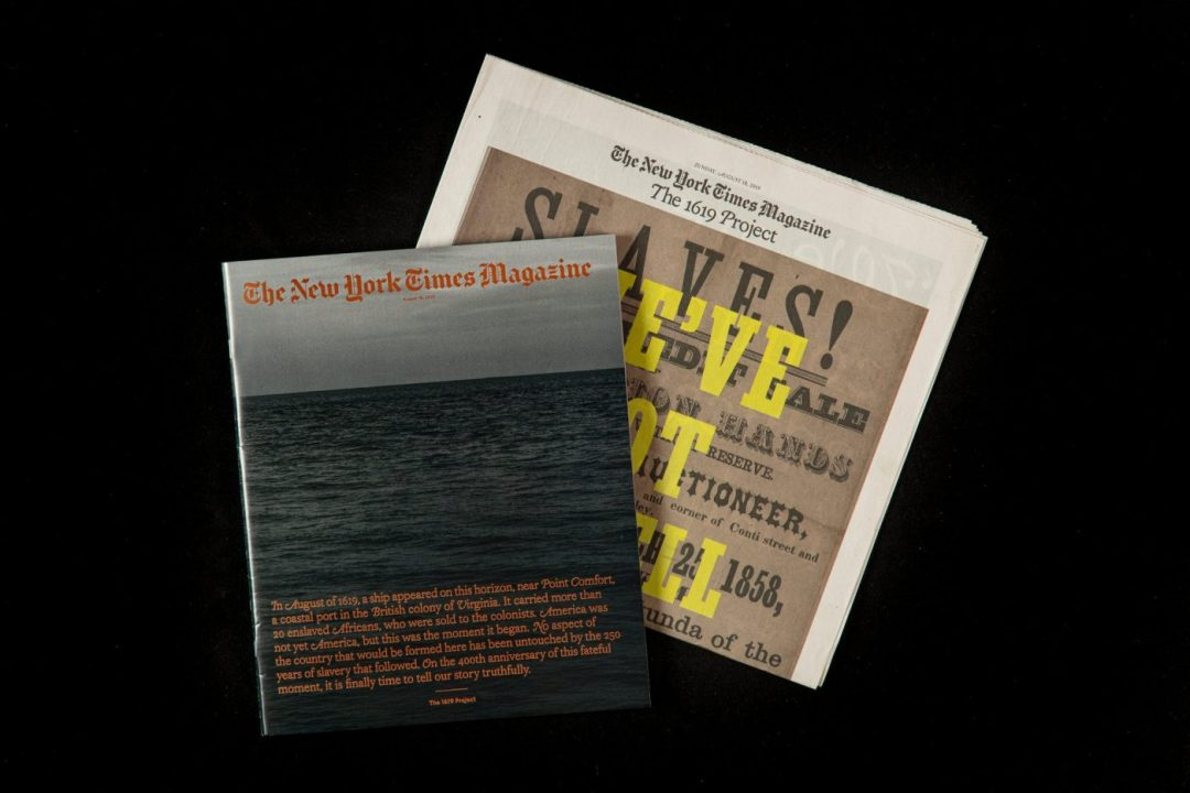 "Top down view of NYT Magazine's, ""1619 Project"""