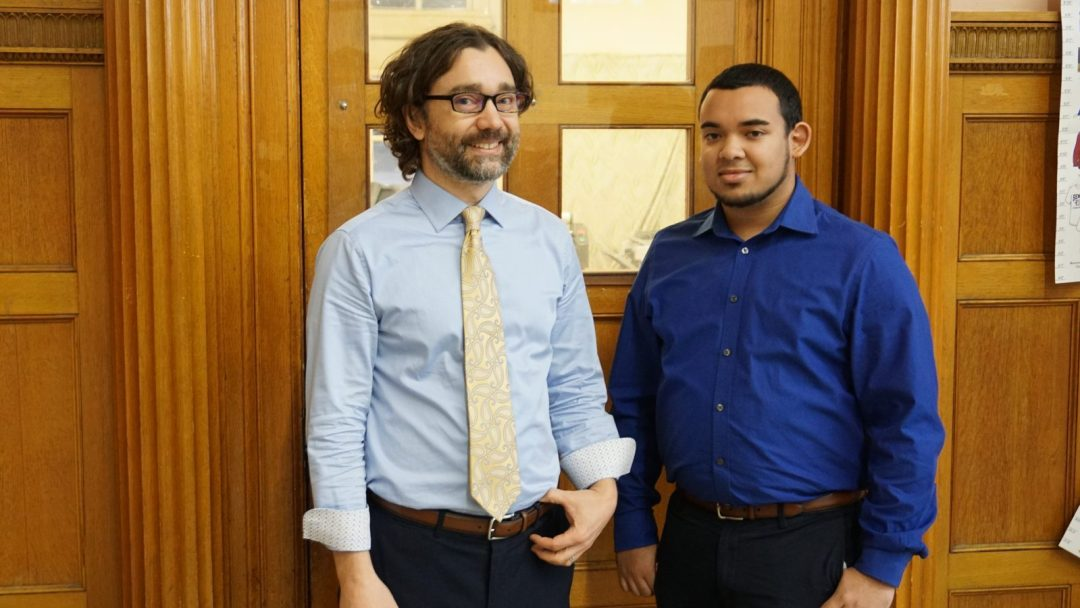 Mentor Phillip Donohue (left), standing alongside his apprentice, Kyle Pierre