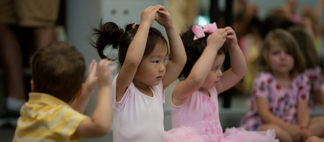 Young preschool aged students in ballet class