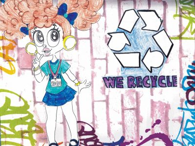 """Drawing of a chibi-style girl with big hoop earrings and a """"We Recycle"""" logo next to her"""