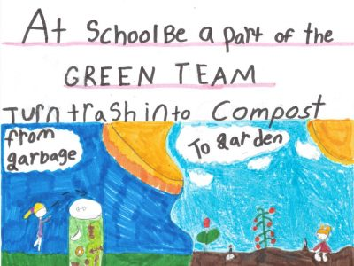 """Drawing with the words, """"At school be a part of the green team. Turn trash into compost."""" One side of the drawing features a full garbage can, and the other half features a flowering garden"""