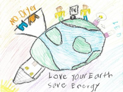 """Drawing of Earth with a pair of humans on top next to an LED lighbulb and a clothing rack with the words, """"no dryer"""" written over it"""