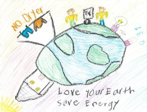 "Drawing of Earth with a pair of humans on top next to an LED lighbulb and a clothing rack with the words, ""no dryer"" written over it"