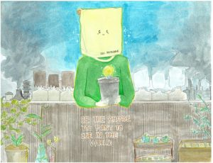 Drawing of a person with a paper bag for a head holding a flower pot in its hands