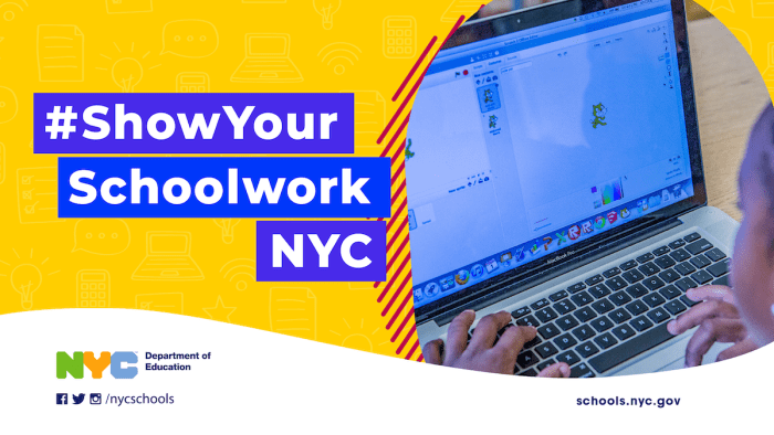 """Banner of """"Show Your Schoolwork NYC"""" featuring a student working on a laptop"""