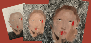 """Three images showing the artistic process of the student work, """"The Winds are Blowing"""""""