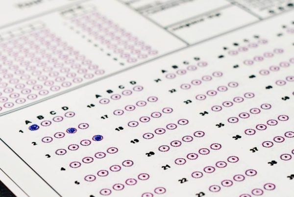 Close-up of a standardized exam answer sheet