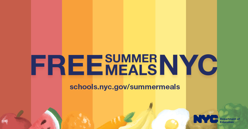 """Banner that reads, """"Free Summer Meals NYC,"""" along with a URL of the DOE's official Summer Meals website."""