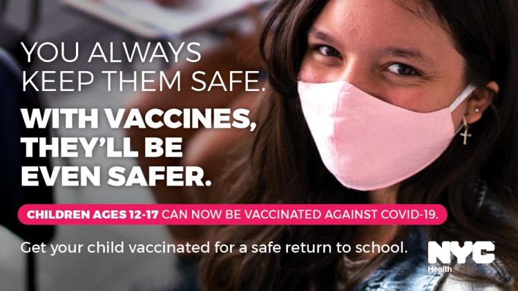 """Banner that reads """"You always keep them safe. With vaccines, they'll be even safer."""""""