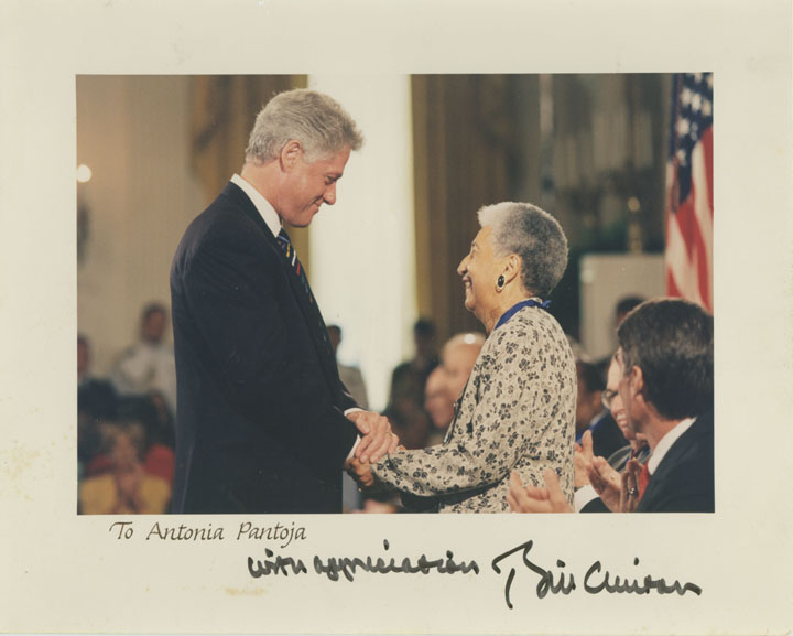 A Presidential keepsake from President Bill Clinton to Dr. Antonia Pantoja in remembrance of her 1996 Presidential Medal of Freedom