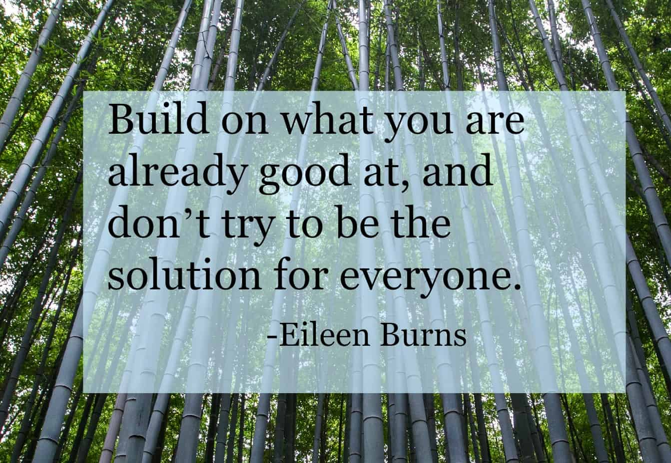 Build on what you are already good at, and don't try to be the solution to everyone. Eileen Burn stress coach. Click through to read full interview.