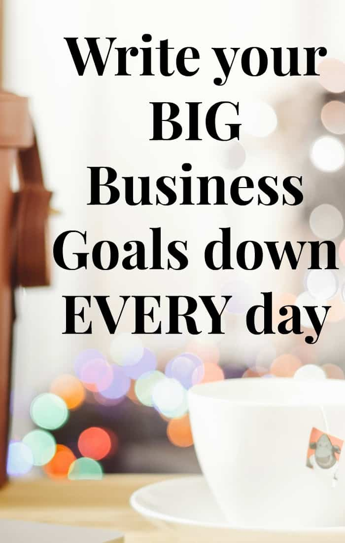 I encourage you to write your big business goals down every single day. In fact, I encourage you to write them down in the morning and at the end of the day. Keep your focus on your dig business goals every day. Click through to find out why, the best way to actually write your goals down and how this gets the law of attraction working in your business. Repin for later.