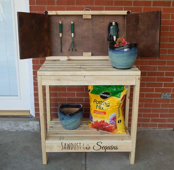 45 DIY Potting Bench Plans That Will Make Planting Easier (Free)