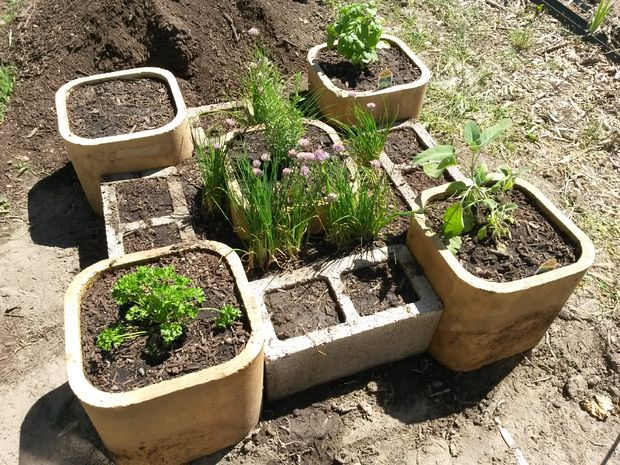 This Is A Very Interesting Raised Bed Herb Garden. The Reason Is Because He  Took Old Masonry Parts And Put Them Together To Create A Unique Shape.