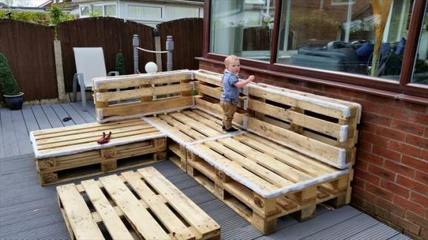 It has floated around in a few different designs on multiple sites. The  fact that you can a large outdoor couch with tables, all handmade from  pallets.