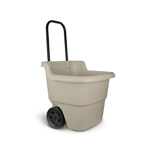 the hard plastic wheels can handle the terrain in the yard or over concrete without problems this is the kind of cart that