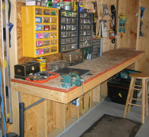 If you have a garage then this work bench would be amazing for it  You  would have a designated place to work and leave your tools 49 Free DIY Workbench Plans   Ideas to Kickstart Your Woodworking  . Free Plans Building Wood Workbench. Home Design Ideas