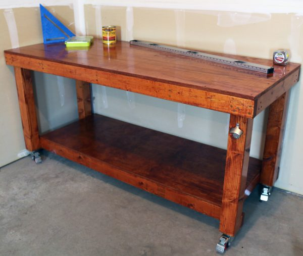 This workbench looks amazing  It is a stand alone workbench that would be  great to go in a shed or garage  And it appears to have ample workspace too 49 Free DIY Workbench Plans   Ideas to Kickstart Your Woodworking  . Free Plans Building Wood Workbench. Home Design Ideas