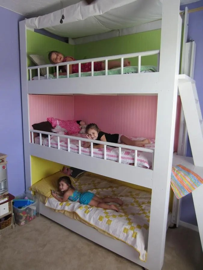 31 diy bunk bed plans ideas that will save a lot of - Space saving ideas for small kids bedrooms plan ...