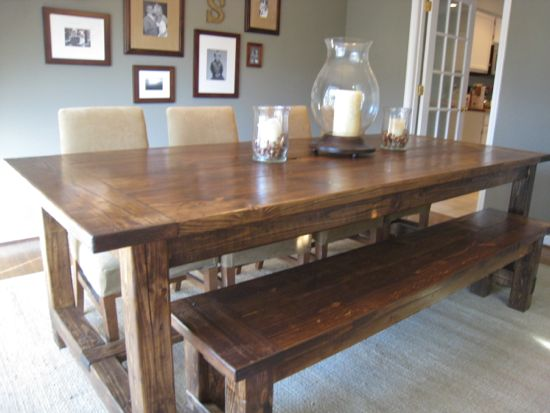 40 diy farmhouse table plans ideas for your dining room for Table a manger en palette
