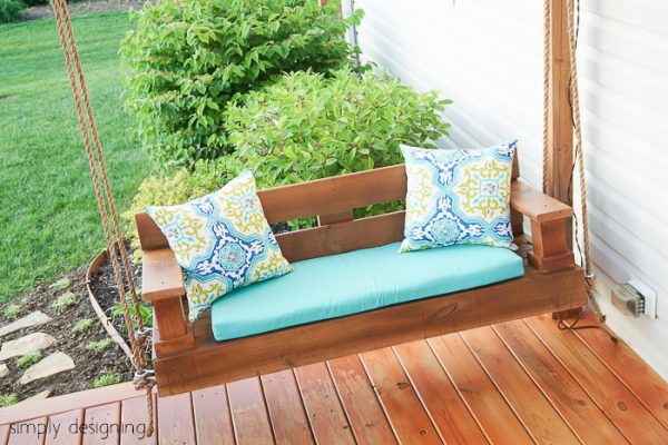 this porch swing modern flare previously shown but simple build the tutorial swingin on front lawn cushions swinging